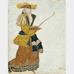Léon Bakst (Russian, 1866-1924)      Costume Design for the Marchioness (Hunting) in THE SLEEPING PRINCESS