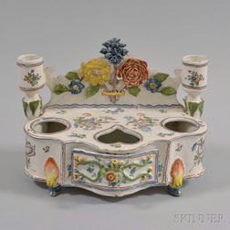 Continental Faience Pottery Polychrome Inkstand