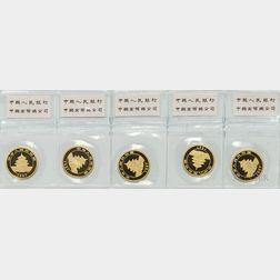 Sheet of Five 1997 Chinese 25 Yuan Large Date Gold Pandas.