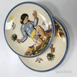 "Two Vernon Kilns ""Salamina"" Ceramic Plates"