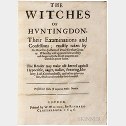 Davenport, John (fl. circa 1646) The Witches of Huntingdon, their Examinations and Confessions; exactly taken by his Majesties Justices