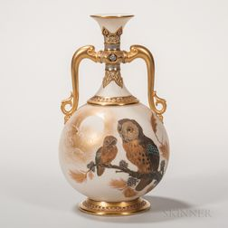 Royal Worcester Porcelain Ivory-ground Vase