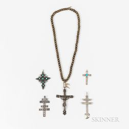 Five Southwest Silver Crosses