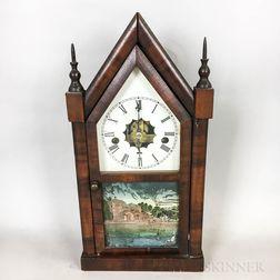 Miniature Waterbury Mahogany Veneer Steeple Clock