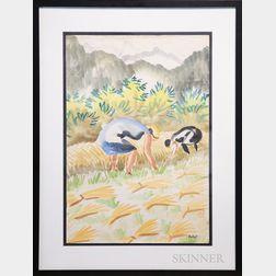 Joseph Pollet (German/American, 1897-1979)      Harvesting Wheat.