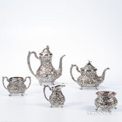 Five-piece Stieff Repousse Sterling Silver Tea and Coffee Service
