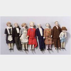Family of Eight Dollhouse Dolls