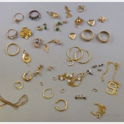 Small Group of Mostly Gold Estate Jewelry