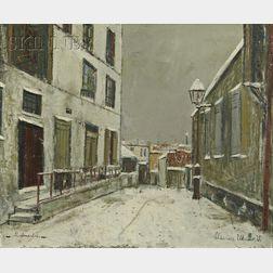 Maurice Utrillo (French, 1883-1955)      Impasse trainee sous la neige à Montmartre