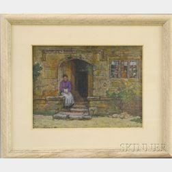 Sydney Richmond Burleigh (American, 1853-1931)      Portrait of a Woman Seated by Steps.