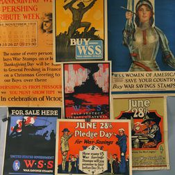 Eight U.S. WWI Lithograph War Savings Stamps Posters