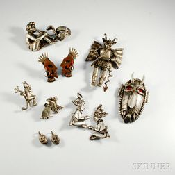 Group of Mexican Silver Figural Jewelry