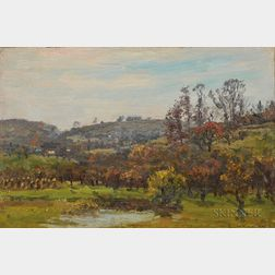 John Joseph Enneking (American, 1841-1916)      Hillside Landscape and Farm