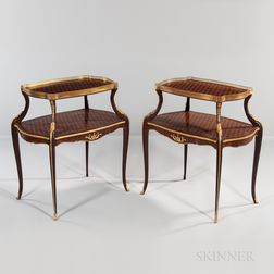 Pair of Louis XV-style Kingwood-parquetry Two-tier Tables