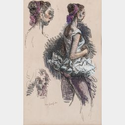 Moses Soyer (American, 1899-1974)      Ballerina Studies