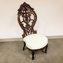 Victorian Belter-type Carved and Laminated Rosewood Side Chair