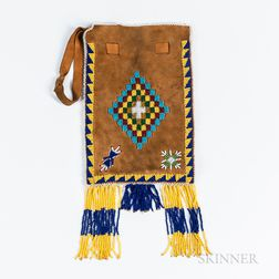Southern Plains Beaded Soft Hide Pouch