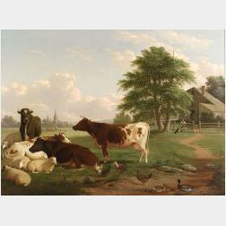 Thomas Hewes Hinckley (American, 1813-1896)  Cows at Pasture