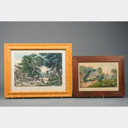 Currier & Ives, publishers (American, 1857-1907)      Lot of Two Works: The Old Homestead.