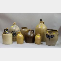Eight Cobalt Decorated and Glazed Stoneware Crocks and Jugs