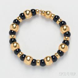 18kt Gold and Onyx Bead Bracelet, Marina B.