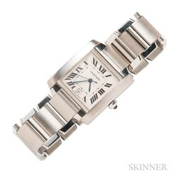 "Stainless Steel ""Tank Francaise"" Wristwatch, Cartier"