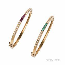 Pair of 18kt Gold Gem-set Bracelets