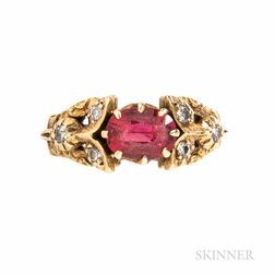 Antique 18kt Gold and Spinel Ring