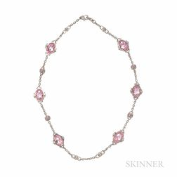 Judith Ripka 18kt White Gold and Pink Crystal Necklace