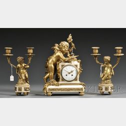 Assembled Gilt-bronze and Alabaster Three-piece Clock Garniture