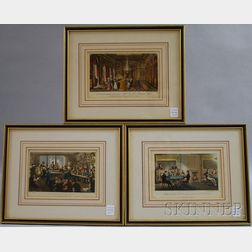 Three Framed 19th Century English Caricature Prints