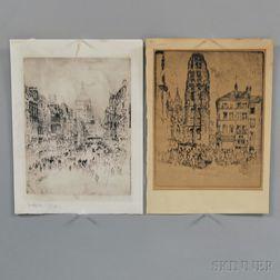 Joseph Pennell (American, 1857-1926)      Two European Street Scenes