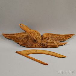 Bellamy-type Carved Pine Spreadwing Eagle with Banner