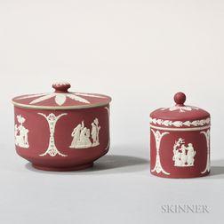 Two Wedgwood Crimson Jasper Dip Covered Jars