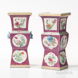 Pair of Famille Rose Altar Vases