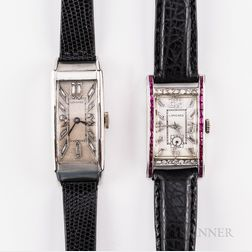 Two Platinum and Diamond Longines Tank-style Wristwatches
