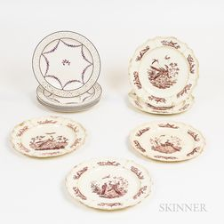 Six Wedgwood Dinner Plates and Five Transfer-decorated Dinner Plates