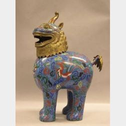 Large Chinese Cloisonne Foo Dog Incense Burner.