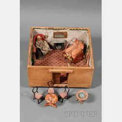 Early American Wooden Box Doll Room and Contents