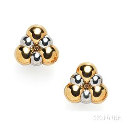 18kt Gold and Stainless Steel Earclips, Marina B.