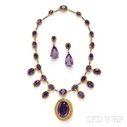 Gold and Amethyst Necklace and Earpendants, of Antique Elements