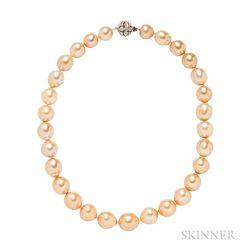 Golden Baroque Pearl Necklace