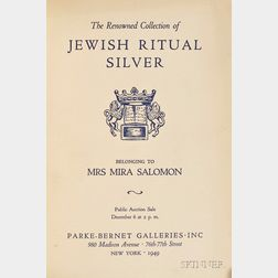 (Jewish Art) The Renowned Collection of Jewish Ritual Silver Belonging to  Mira