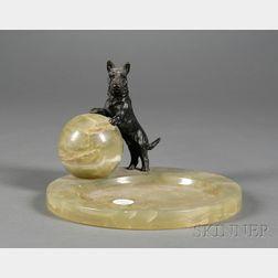 Austrian Art Deco Onyx and Bronze Scottie Dog Desk Tray