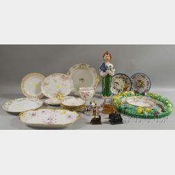 Eighteen Pieces of Assorted Decorated Ceramics and Eight Resin European Cathedral   Figures
