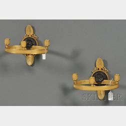 Pair of Empire-style Gilt-bronze Wall Sconces