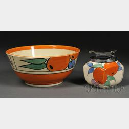 Clarice Cliff Bizarre Ware Oranges Pattern Fruit Bowl and Covered Sugar