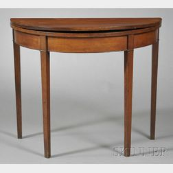 Federal Cherry Inlaid Demilune Card Table