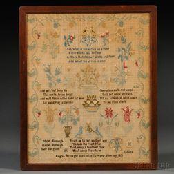 Framed Early 19th Century Silk Needlework Sampler