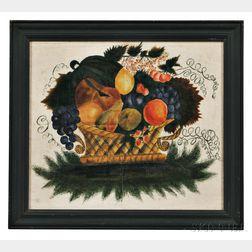 Watercolor Basket of Fruit Theorem on Velvet